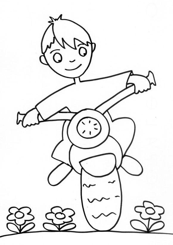 Coloriage et dessins gratuits Motocycliste Enfant au crayon à imprimer