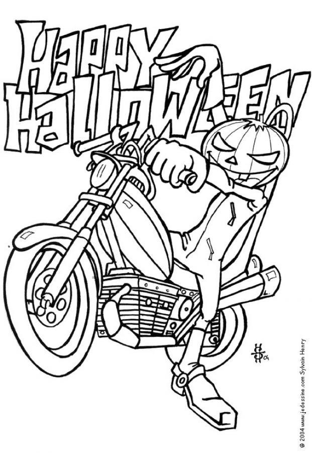 Coloriage et dessins gratuits Motos Halloween à imprimer