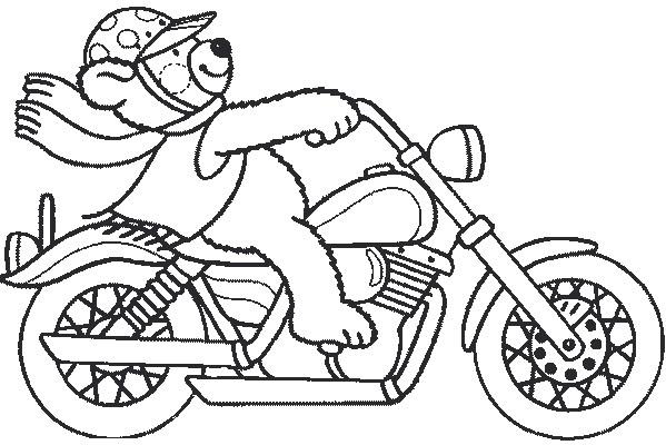 Coloriage et dessins gratuits Ours conduit une Moto Harley à imprimer