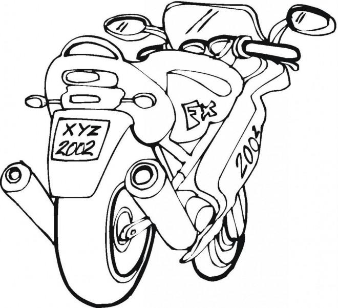 Coloriage et dessins gratuits Une Moto rapide à télécharger à imprimer