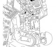 Coloriage et dessins gratuit AStronaute dans La Navette à imprimer