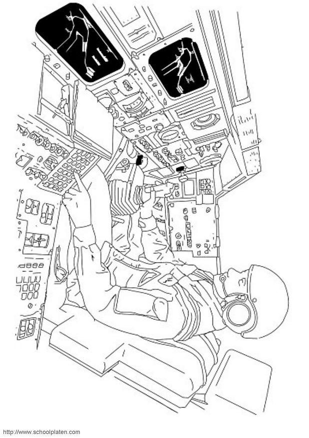 Coloriage et dessins gratuits AStronaute dans La Navette à imprimer