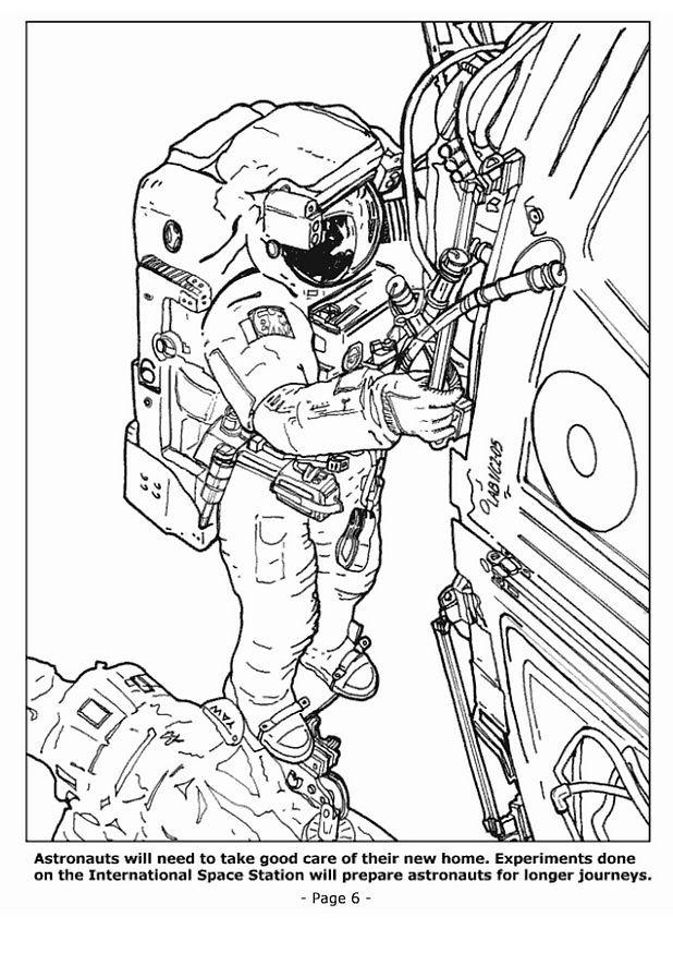 Coloriage et dessins gratuits Astronaute et $Navette Spatiale à imprimer