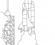 Coloriage et dessins gratuit Décollage de Fusée à colorier à imprimer
