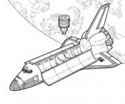 Coloriage et dessins gratuit Fusée réaliste  et l'espace à imprimer
