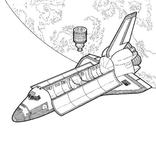Coloriage fus e r aliste et l 39 espace - Dessin vaisseau spatial ...