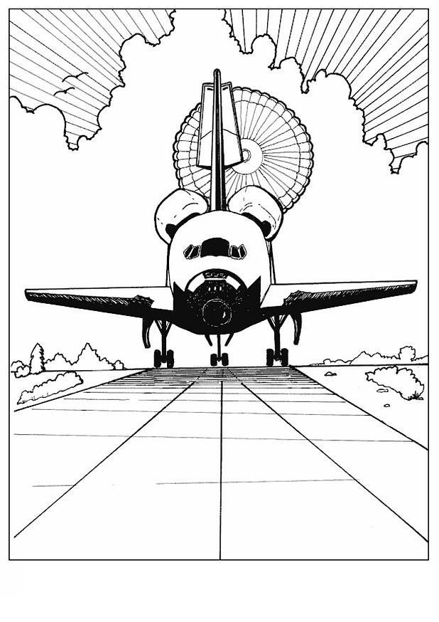 Coloriage et dessins gratuits Le retour du Navette Spatiale sur La terre à imprimer