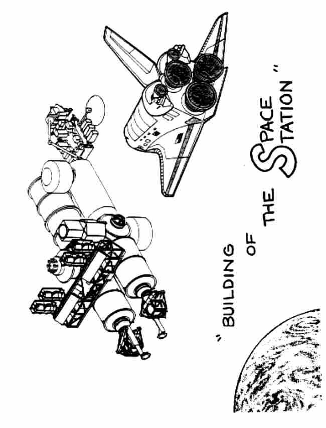 Coloriage et dessins gratuits Navette et Station Spatiale à imprimer