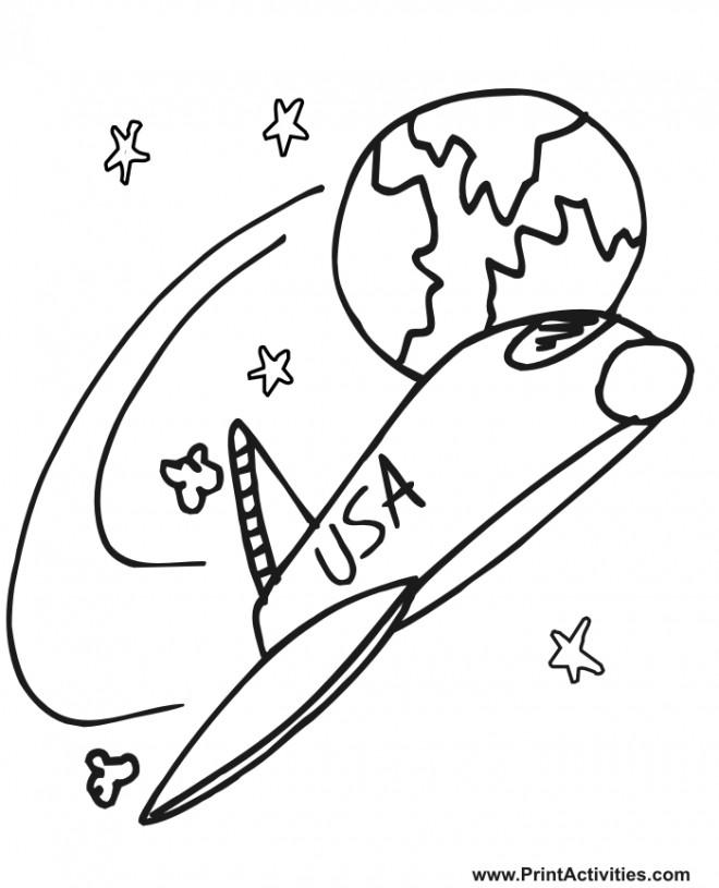 Coloriage et dessins gratuits Navette qui quitte la terre simple à imprimer
