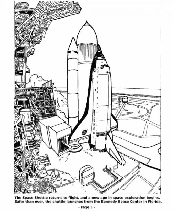 Coloriage et dessins gratuits Navette Spatiale avant son départ à imprimer