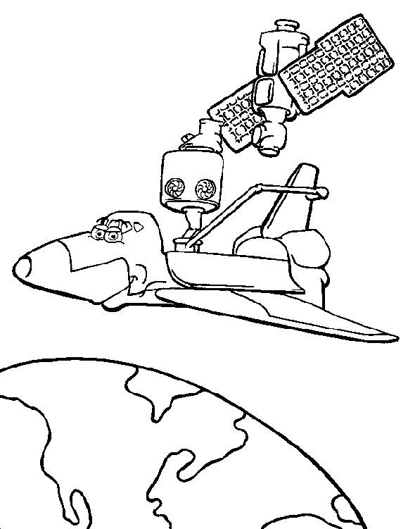 Coloriage et dessins gratuits Navette Spatiale avec des yeux dessin animé à imprimer