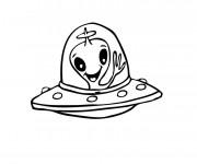 Coloriage et dessins gratuit Petite Navette portant un extraterrestre à imprimer