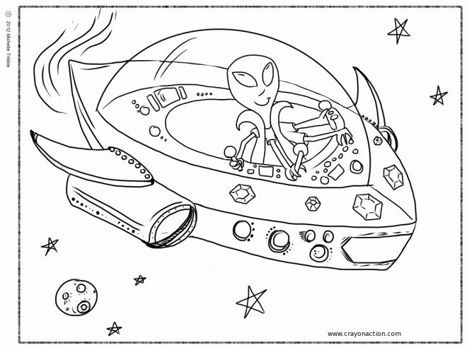 Coloriage vaisseau spatial extraterrestre dessin gratuit imprimer - Dessin vaisseau spatial ...