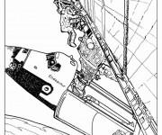 Coloriage et dessins gratuit Les Astronautes au dehors du Vaisseau à imprimer