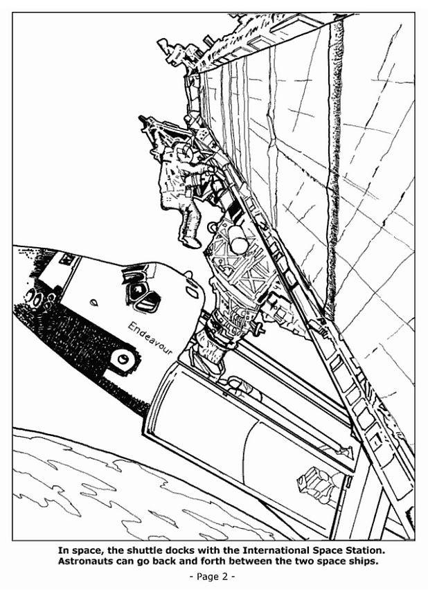Coloriage et dessins gratuits Les Astronautes au dehors du Vaisseau à imprimer