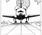 Coloriage et dessins gratuit Navette arrive sur la terre à imprimer