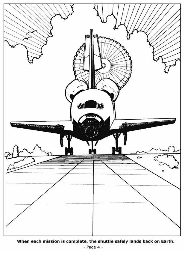 Coloriage et dessins gratuits Navette arrive sur la terre à imprimer