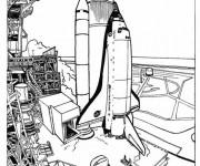 Coloriage et dessins gratuit Navette avant le décollage à imprimer