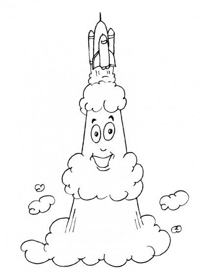 Coloriage et dessins gratuits Navette Spatiale drôle à imprimer
