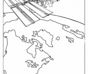 Coloriage et dessins gratuit Satellite autour de La Terre à imprimer