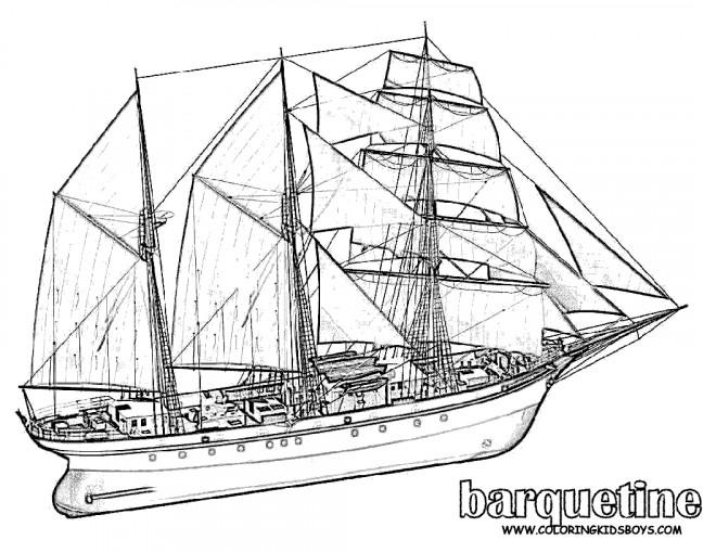 Coloriage et dessins gratuits Barquentine à voile à imprimer