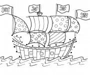 Coloriage Bateau avec drapeaux de pirates