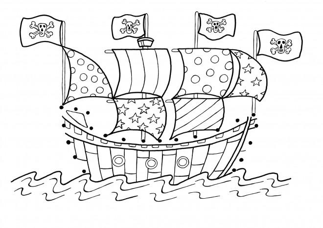 Coloriage et dessins gratuits Bateau avec drapeaux de pirates à imprimer