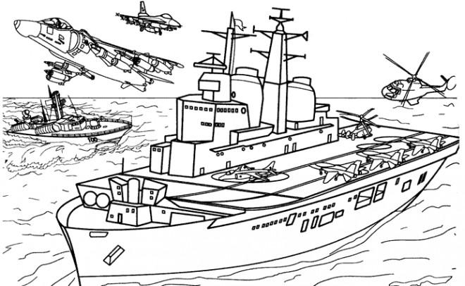 Coloriage et dessins gratuits Bateau de guerre à imprimer