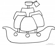 Coloriage et dessins gratuit Bateau Pirate à décorer à imprimer