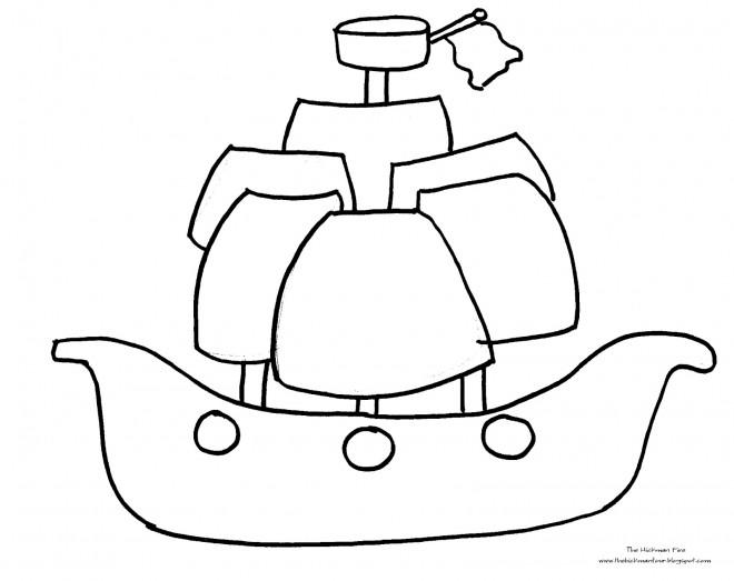 Coloriage et dessins gratuits Bateau Pirate à décorer à imprimer