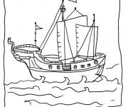 Coloriage Bateau Pirate au crayon