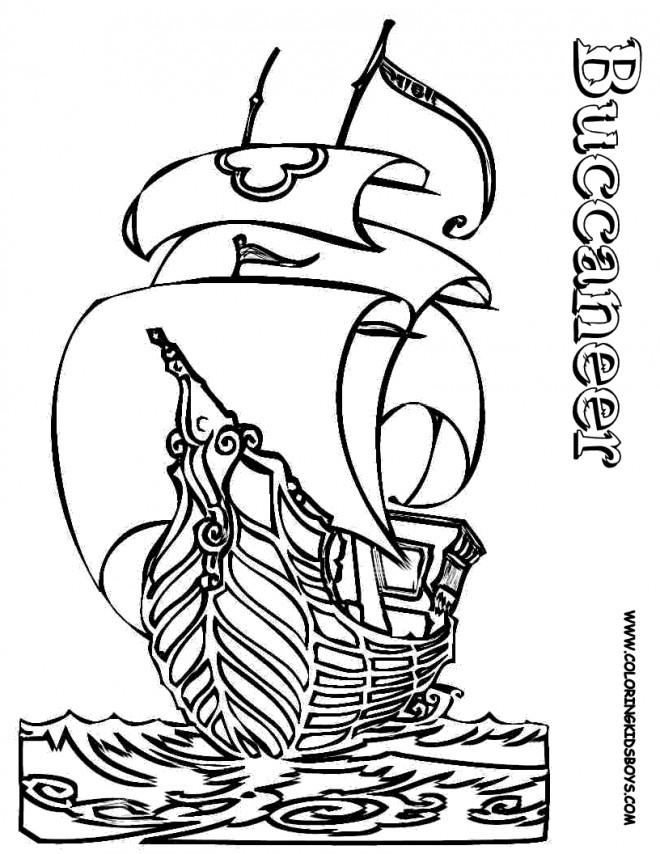 Coloriage et dessins gratuits Bateau Pirate Buccaneer à imprimer