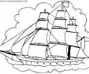 Coloriage et dessins gratuit Bateau Pirate couleur à imprimer