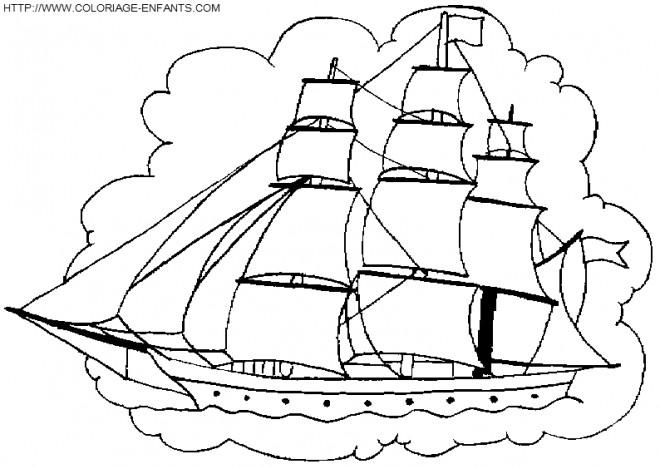 Coloriage Bateau Pirate Couleur Dessin Gratuit à Imprimer