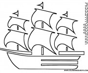 Coloriage et dessins gratuit Bateau Pirate des caraibes à imprimer