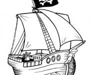 Coloriage et dessins gratuit Bateau Pirate en ligne à imprimer