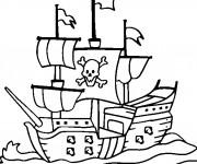 Coloriage et dessins gratuit Bateau Pirate en noir et blanc à imprimer