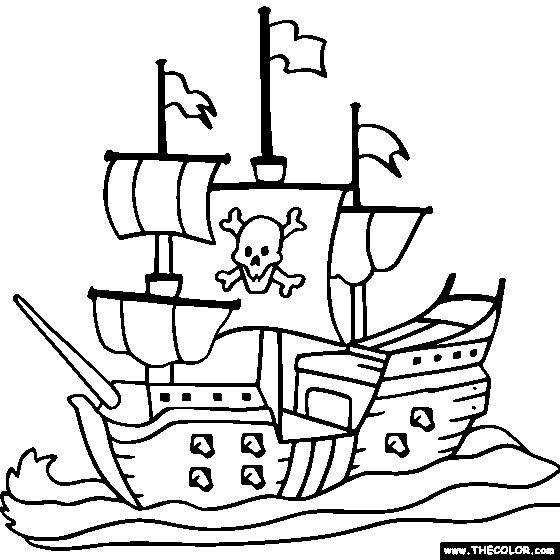 Coloriage bateau pirate en noir et blanc dessin gratuit - Coloriage bateau de pirate ...