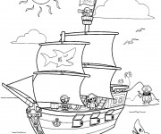 Coloriage Bateau Pirate et L'île au trésor