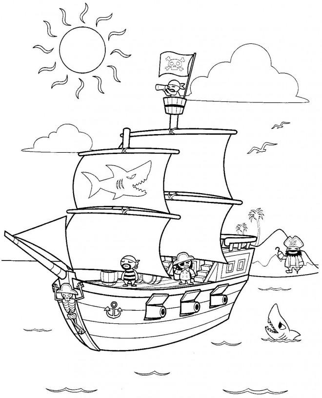 Coloriage Bateau Pirate Et L Ile Au Tresor