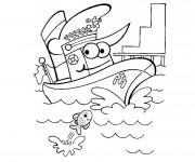 Coloriage et dessins gratuit Bateau rigolo à imprimer