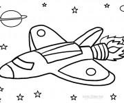 Coloriage et dessins gratuit Fusée dans l'univers à imprimer