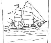 Coloriage Grand navire à voile au crapon