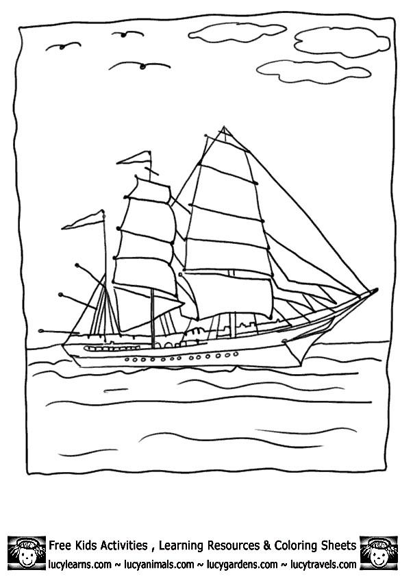 Coloriage et dessins gratuits Grand navire à voile au crapon à imprimer