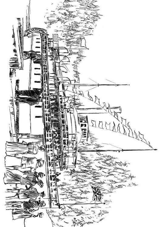 Coloriage et dessins gratuits Inauguration du bateau à imprimer