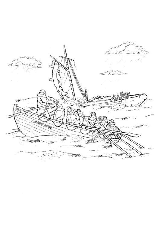 Coloriage et dessins gratuits Le naufrage d'un bateau à imprimer