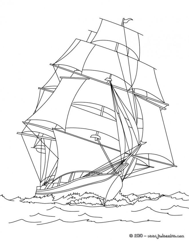 Coloriage et dessins gratuits Navire à voile à télécharger à imprimer