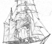 Coloriage Navire à voile Canadien Concordia