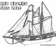 Coloriage Navire à voile en bois