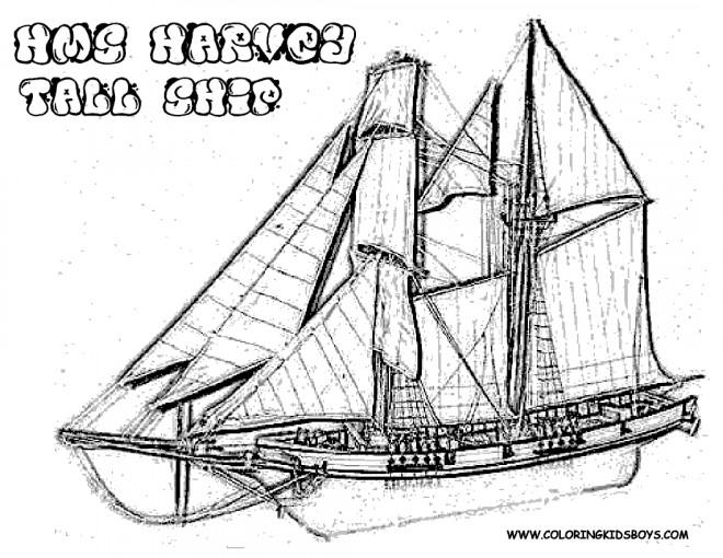 Coloriage et dessins gratuits Navire à voile en bois à imprimer